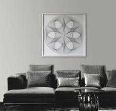 "Large Ellegant White Wall Art, Custom String Art Mandala & Black Strings, Framed 28,7""x 28,7"" (73x73 cm), behind glass - pinned by pin4etsy.com"