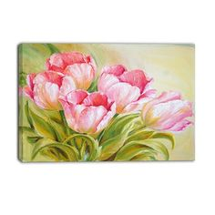 DesignArt Canada PT6312 Bunch of Tulips Oil Painting Canvas Art