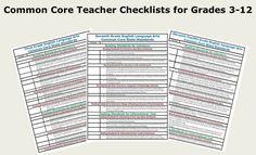 Core checklists for grades common core ela, common core reading, commo Common Core Ela, Common Core Reading, Common Core Standards, Teacher Tools, Teacher Resources, Teaching Ideas, Teacher Stuff, 6th Grade Ela, Sixth Grade
