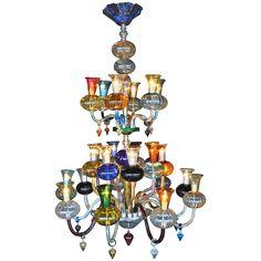 Multicolored Hand Blown Glass Chandelier - MidCentury Modern, Regency, Glass, Metal, Chandelier by Pegaso Gallery (=)