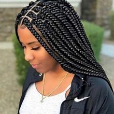 """Box braids are hair braids which are characterized by """"boxy"""" or square-shaped hair divisions. They are typically created by adding in synthetic braiding hair (i.e. kanekalon hair). This hairstyle is a means of protective styling."""