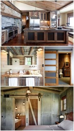 Creative ways to use corrugated metal in Interior Design. If you're a fan of rustic industrial decor then you need to check out these creative ways to use corrugated metal in Interior Design. Metal Building Homes, Metal Homes, Building A House, Building Ideas, Building Design, Building Systems, Rustic Industrial Decor, Rustic Decor, Industrial Design
