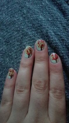 Autumn nails with trees