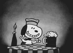 Snoopy World War One flying ace. Enjoys a cool one in a discreet French cafe