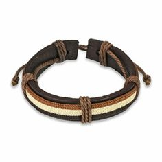 Brown Leather Bracelet with 3 Layered Stripes