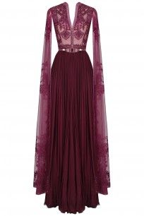 Wine Sequins and Beads Embroidered Cape Sleeves Gown #soltee #shopnow #ppus #happyshopping