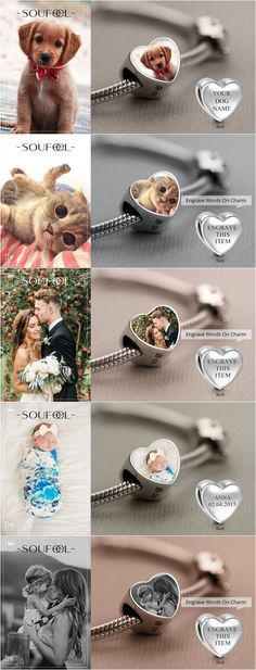 Engraved Photo Charm Bracelet -- Special and Meaningful Jewelry on Soufeel, $20.00/Piece.