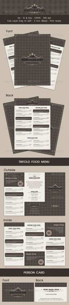 Restaurant Menu #GraphicRiver Food Menu for your restaurant File features : -297×210mm A4 + 3 mm. Bleed -included Food menu A4, Trifold, personal card -CMYK -Print ready -Vector -AI & EPS File -Easy to customize -Editable text/colors -Well organized layer -Work organized in folders Font used : .dafont /vintage.font Thanks you! Created: 4 December 13 Graphics Files Included: Vector EPS #AI Illustrator Layered: Yes Minimum Adobe CS Version: CS5 Print Dimensions: 8.2x11.6 Tags ai #bussiness…