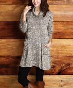 Another great find on #zulily! Oatmeal Melange Pocket Cowl Neck Tunic #zulilyfinds
