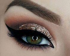 Modern Eye Makeup Ideas ~ Gold glitter with grey smokey eye 2018