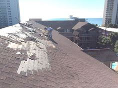 Our commercial roofing contractors in Myrtle Beach SC enjoy the beautiful view during our oceanfront roofing project.