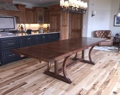 Custom Made Walnut Dining Table With Trestle Legs 03