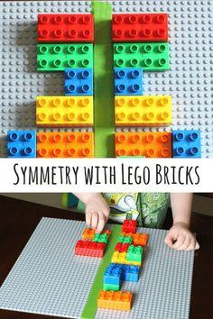 Symmetry to Preschoolers with LEGO Bricks Preschool math activity that uses LEGO to teach symmetry.Preschool math activity that uses LEGO to teach symmetry. Lego Math, Lego Duplo, Math Classroom, Math Math, Preschool Learning, Kindergarten Math, Teaching Math, Montessori Preschool, Montessori Elementary