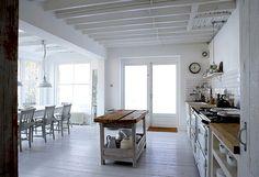 all white, spacious, light, airy, gorgeous, eat-in kitchen.