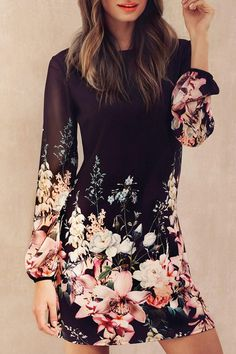 »Printed Chiffon Long Sleeves Round Collar Dress« #fashion #fashionandaccessories #zaful