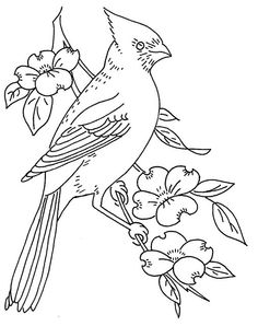 bird and dogwood | Flickr  embroidery pattern.  Would also be good for stumpwork