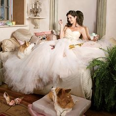 Brides.com: Royal Wedding Dresses for a Princess Bride. Life is gonna be sweet. Treat yourself to a sherbet tulle confection with a pleated silk satin-organza bodice and a gathered circular skirt; $3,630, Lazaro. Tiara, Paris. Earrings, CZ by Kenneth Jay Lane. Necklace, Nadri. Ring, Monet Bridal Couture. Engagement ring (worn throughout), Emitations.com. Chocolates, Charbonnel et Walker. Pillows, ABC Carpet & Home.