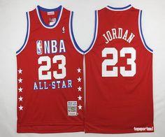 NBA Chicago Bulls 23 Michael Jordan All Star Red White Number Basketball Jersey
