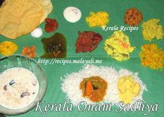 ONAM – is the regional festival of Keralites. Onam Sadhya – a vegetarian banquet is the centre of attraction for Onam. The Sadhya is served on Fresh Plantain Leaves. Veg Recipes, Kerala Recipes, Indian Food Recipes, Cooking Recipes, Easy Recipes, Onam Sadhya, Kerala Food, Biryani Recipe, South Indian Food