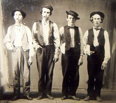 Left to Right.  Billy the Kid, Doc Holliday, Jesse James & Charlie Bowdre.  Photo believed to have been taken in New Mexico in 1879.      #WildWest #ancestry