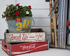 Salvage old wooden crates & buckets for a timeless retro decor. I am lucky enough to have a good bit of the cola crates. Made a table with one, just for ideas for other crate owners. Cageots Vintage, Vintage Crates, Vintage Decor, Vintage Antiques, Vintage Items, Vintage Stuff, Coca Cola, Old Wooden Crates, Wooden Trays