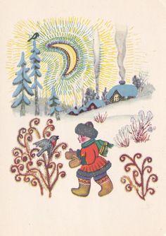 Vintage Soviet postcard (1968), Russian folk tale Illustration Lullaby, artist…