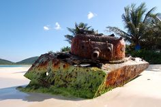 Abandoned tank on a beach in Puerto Rico [2.087px  1.397px]