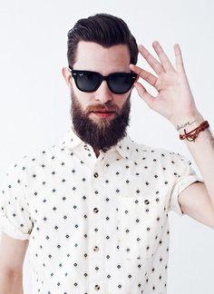 polka dots shirt sunglasses beard streetstyle men fashion .