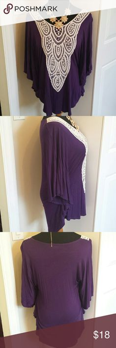 Long Royal Purple Crochet Dolman Tunic Top Gorgeous super soft and stretchy tunic top with crochet detail on bust. Dolman bat-wing style top with flowy sleeves. Perfect for pairing with leggings or jeans, or even tucking into a skirt!  Feel free to make an offer! Boutique  Tops Tunics