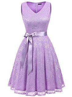 353823d7f5c IVNIS RS90025 Women s Cocktail Dress V Neck Vintage Floral Lace Swing  Bridesmaid Dress Lavender 3XL
