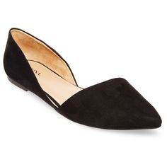Women's Poppy d'Orsay Pointed Toe Ballet Flats Black 11 - Merona