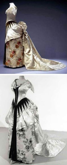 Ball gown, Worth, 1886. Ivory silk satin with woven flowers of multicolored silk velvet, trimmed with green silk velvet. Centraal Museum, Utrecht