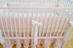 Linen Crib  bedding  light pink with ruffle gathered sjirt by MoodsStore Baby girl bedding