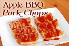 Apple BBQ Pork Chops | 12/4/13. Needed a quick easy dinner with minimal cleanup and this fit the bill. Good flavor, super easy assembly and with crockpot liners, almost no cleanup. Served with egg noodles, green beans and carrots.