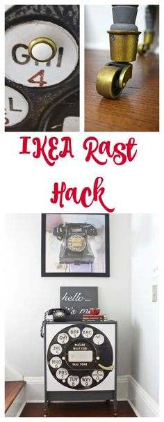 IKEA Rast Hack using PPG Paint and hardware from Hickory Hardware. We also used a vintage rotary print from Hobby Lobby.