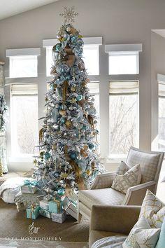 Flocked Christmas Tree. Flocked Christmas Tree. Beautiful Flocked Christmas Tree decor. Flocked Christmas Tree Decor. Flocked Christmas Tree Ideas. #Flocked #Christmastree Sita Montgomery.
