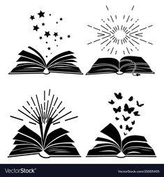 Black books silhouettes vector image on VectorStock Book Silhouette, Silhouette Vector, Education Logo Design, Butterfly Books, Book Logo, Class Decoration, Black Books, Pen Art, Watercolor Background