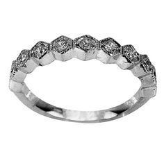 This antique band in white gold has sparkling round diamonds, surrounded by milgrain and set in diagonal square shapes. While this is a petite and delicate ring, it is also sturdy with room at the back for sizing. This ring flatters any wearer! Diamond Bands, Diamond Wedding Bands, Diamond Cuts, Wedding Rings, Antique Wedding Bands, Antique Engagement Rings, Diamond Engagement Rings, Delicate Rings, Anniversary Bands