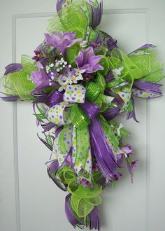 Cross wreath religious wreath Spring wreath by CreativeIdeawreath