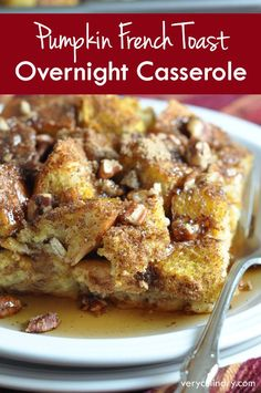 A wonderful dish for the Fall, with great pumpkin and cinnamon flavor. Preparing it the night before makes breakfast or brunch the next morning easy-peasy!