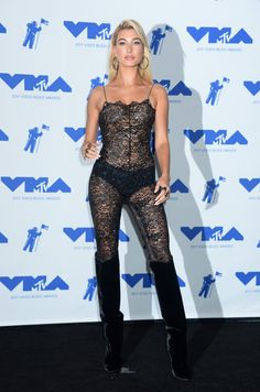 Hailey Baldwin at 2017 MTV Video Music Awards Press Room in Los Angeles 08/27/2017. Celebrity Fashion and Style | Red Carpet