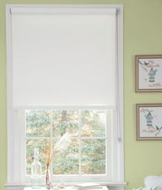 White woven shade adds subtle texture from Country Curtains.