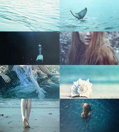 mermaid, blue, and sea kép