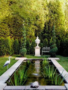 :: Havens South Designs :: renovate the pond with raised corner bluestone slabs, and dual or quadruple water spout fountains