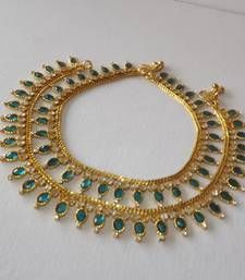 Buy Golden Antique Traditional Payal Anklet in American Diamonds anklet online