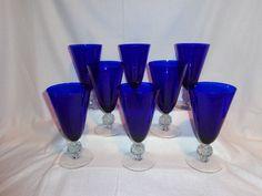 Vintage Glass Morgantown Cobalt Ritz Blue 12 oz Ice Tea Glasses (8)