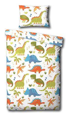 Children S Dinosaur Junior Toddler Duvet Cover Bed Set Inc Pillowcase White Orange