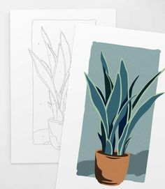 Potted Snake Plant Paint by Numbers Kit