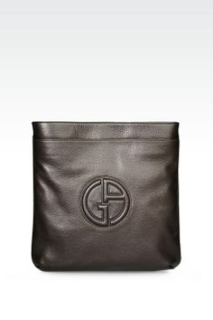 f398d1b65 Flat Shoulder Bag in Calfskin with Logo| Giorgio Armani. Armani Men, Giorgio  Armani