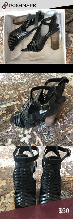 Steve Madden dressy sandals Never worn, but so cute! Black woven leather top, with a contrasting light wood stacked heel. Steve Madden Shoes Sandals